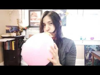 CHICK DOES A BLOW TO POP PINK BALLOON