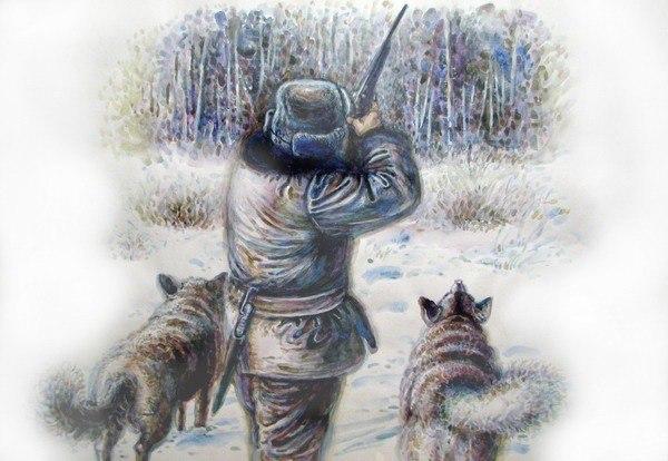 одна охотник в зимнем лесу рисунок девушкой писают друг
