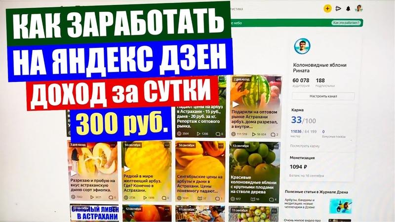 Заработал на Яндекс Дзен за сутки 300 рублей Как заработать на Яндекс Дзен
