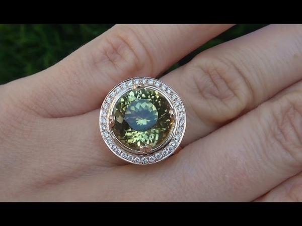 CERTIFIED Natural VVS2 Peridot Diamond 18k Rose Gold Cocktail Ring - C384