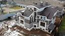 Отчёт о строительстве, фасады дома из тёплой керамики, штукатурка, декоративные элементы, камень