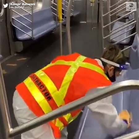 "ABC News on Instagram: ""You are the heroes. New York City's subway trains came to a halt in the early hours, as cleaners disinfected them, wiping down seat and…"""