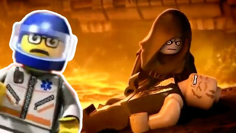 A MAN HAS FALLEN INTO THE RIVER IN LEGO CITY but it's Darth Vader